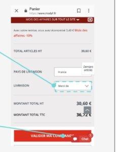 CTA panier site mobile