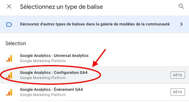 choisir balise analytics4 dans gtm